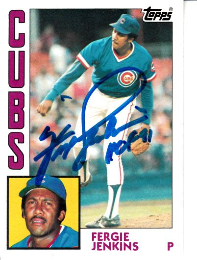 Fergie Jenkins autographed Chicago Cubs 1984 Topps card (MLB authenticated)