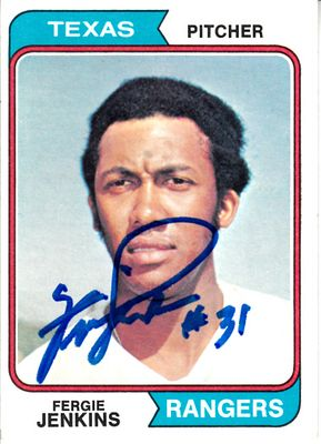 Fergie Jenkins autographed Texas Rangers 1974 Topps card (MLB authenticated)