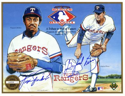 Fergie Jenkins and Gaylord Perry autographed Texas Rangers 1991 Upper Deck card sheet