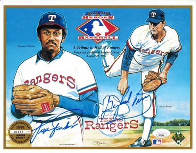 Fergie Jenkins and Gaylord Perry autographed Texas Rangers 1991 Upper Deck card sheet JSA