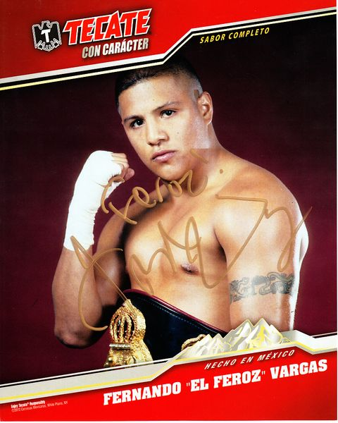 Fernando Vargas autographed Tecate Boxing 8x10 promotional photo inscribed Feroz