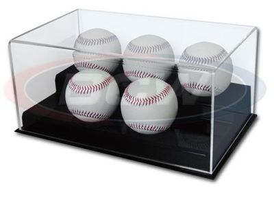 Five baseball acrylic display case