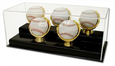 Five baseball gold glove acrylic display case