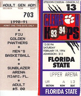 Florida State Seminoles basketball vintage early 1990s road game ticket stubs (Charlie Ward)