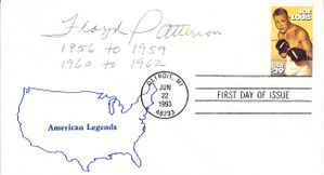 Floyd Patterson autographed 1993 boxing Joe Louis First Day Cover inscribed 1956 to 1959 & 1960 to 1962