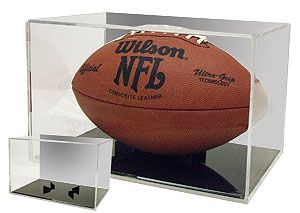 Football display case holder with black base and mirrored back