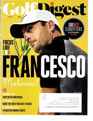 Francesco Molinari autographed 2018 Golf Digest magazine cover