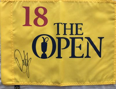 Francesco Molinari autographed British Open undated golf pin flag