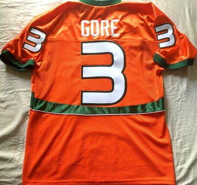 Frank Gore 2004 Miami Hurricanes orange OT Teamwear licensed #3 stitched jersey