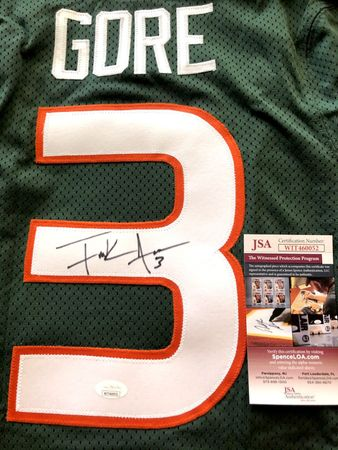 Frank Gore autographed Miami Hurricanes 2004 Nike team issued green jersey (JSA Witnessed)