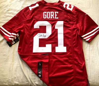 Frank Gore autographed San Francisco 49ers authentic Nike stitched red jersey (JSA Witnessed)