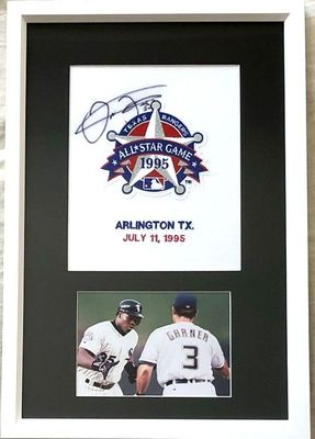 Frank Thomas autographed 1995 All-Star Game jersey patch framed with 5x7 home run trot photo