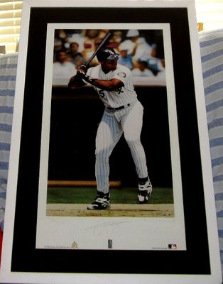 Frank Thomas autographed Chicago White Sox lithograph matted and framed #155/450