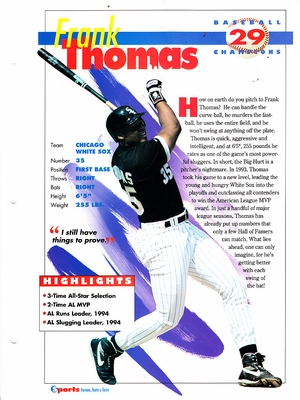 Frank Thomas Chicago White Sox 1994 Sports Heroes album page