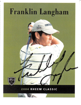 Franklin Langham autographed 2004 Nike Golf card