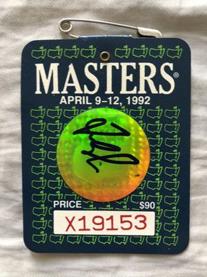 Fred Couples autographed 1992 Masters golf badge