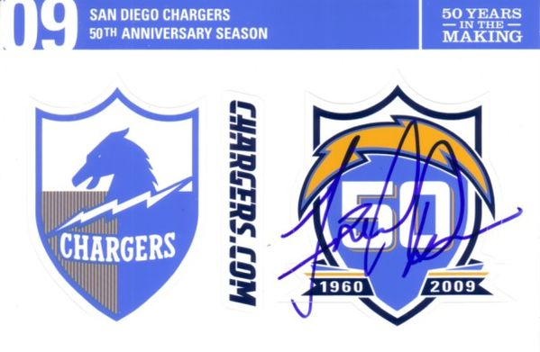 Fred Dean autographed San Diego Chargers 50th Anniversary sticker sheet