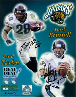 Fred Taylor and Mark Brunell autographed Jacksonville Jaguars 16x20 poster size photo limited edition 99