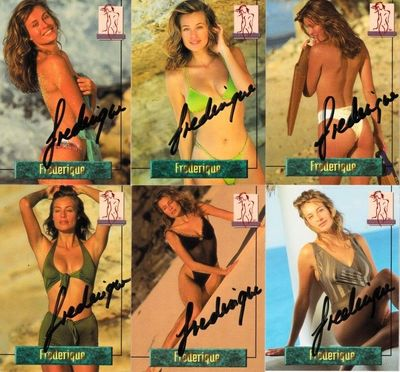 Frederique van der Wal (Victoria's Secret model) autographed 1994 Portfolio swimsuit 6 card set