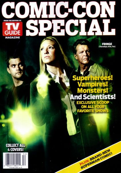 Fringe 2010 Comic-Con TV Guide magazine (Joshua Jackson John Noble Anna Torv) with Young Justice and Thundercats poster