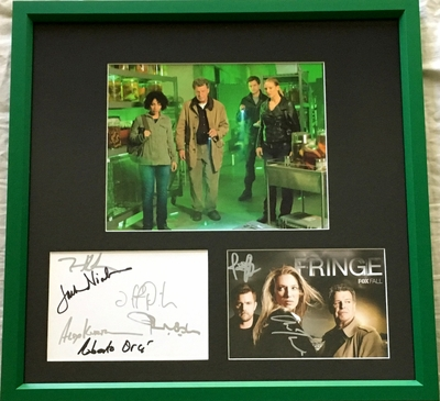 Fringe cast autographed 2009 Comic-Con cards framed with 8x10 photo (Joshua Jackson John Noble Anna Torv)