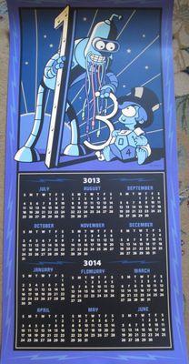 Futurama 2013 Comic-Con double sided 2013 and 2014 19x40 inch calendar poster