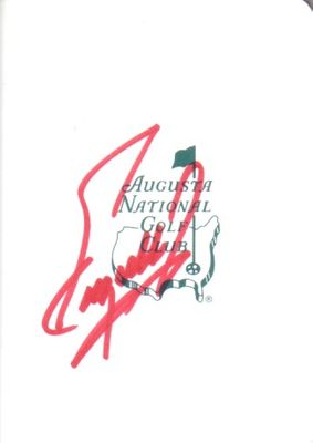 Fuzzy Zoeller autographed Augusta National Masters scorecard