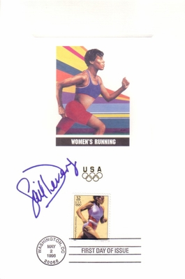 Gail Devers autographed 1996 U.S. Olympic Team USPS 6x9 proof card with First Day of Issue cancellation