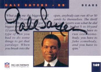 Gale Sayers autographed Chicago Bears 1991 Pro Line card