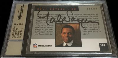 Gale Sayers autographed Chicago Bears 1991 Pro Line card JSA authenticated (BGS graded 9 and slabbed)