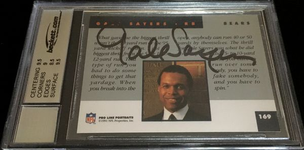 Gale Sayers autographed Chicago Bears 1991 Pro Line card graded BGS 9 MINT JSA