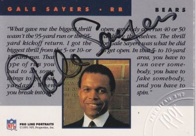 Gale Sayers certified autographed Chicago Bears 1991 Pro Line National Convention card