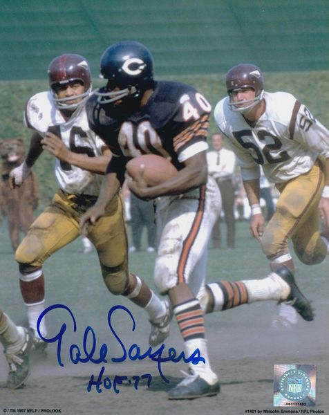 Gale Sayers autographed Chicago Bears 8x10 action photo inscribed HOF 77