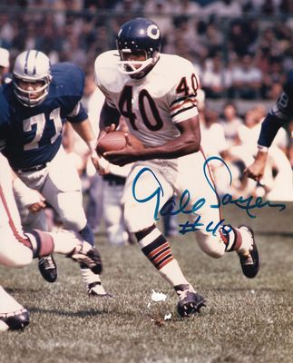 Gale Sayers autographed Chicago Bears 8x10 action photo (damaged)