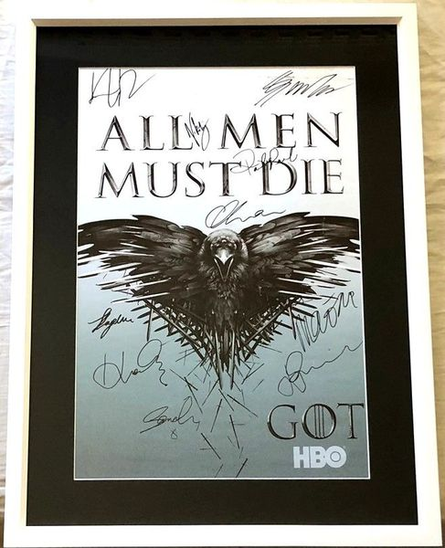 Game of Thrones cast autographed 2014 Comic-Con poster framed Nikolaj Coster-Waldau Kit Harington Sophie Turner Maisie Williams