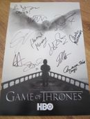 Game of Thrones cast autographed 2015 Comic-Con poster (Alfie Allen John Bradley Natalie Dormer Sophie Turner Maisie Williams)