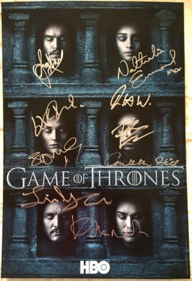 Game of Thrones cast autographed 2016 Comic-Con poster (Sophie Turner John Bradley Conleth Hill)