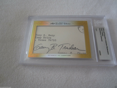 Garry Trudeau 2014 Leaf Masterpiece Cut Signature certified autograph card 1/1 JSA Doonesbury