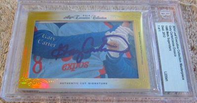Gary Carter and Jesse Orosco 2014 Leaf Masterpiece Cut Signature certified autograph card 1/1 JSA