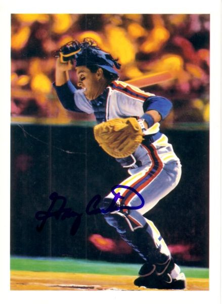 Gary Carter autographed New York Mets 1989 5x7 artwork postcard