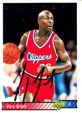 Gary Grant autographed Los Angeles Clippers 1992-93 Upper Deck card