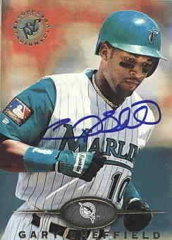 Gary Sheffield autographed Florida Marlins 1995 Stadium Club card
