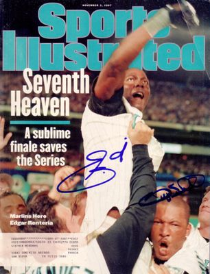 Gary Sheffield and Edgar Renteria autographed 1997 Florida Marlins World Series Sports Illustrated