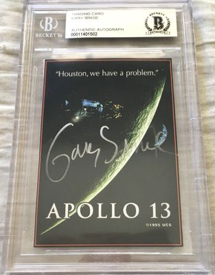 Gary Sinise autographed Apollo 13 movie 1995 promo card (BAS authenticated and slabbed)