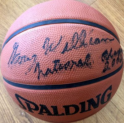 Gary Williams autographed Spalding rubber basketball inscribed National Champions 2002