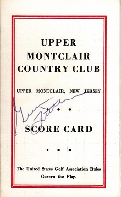 Gene Littler autographed Upper Montclair Country Club 1960s golf scorecard