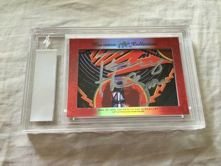 Gene Simmons and Tommy Thayer 2017 Leaf Masterpiece Cut Signature card 1/1 JSA KISS