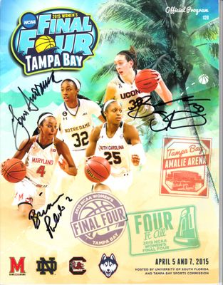 Geno Auriemma and Breanna Stewart autographed 2015 NCAA Women's Final Four program