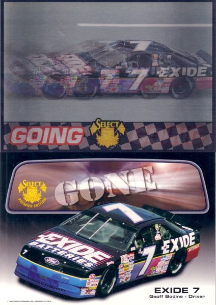 Geoff Bodine (NASCAR) 1995 Select 5x7 Going Going Gone 3D motion card