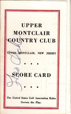 George Archer autographed Upper Montclair Country Club 1960s golf scorecard